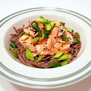 Miso and Ginger Poached Salmon with Warm Soba Noodles.
