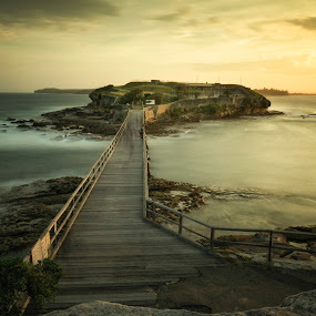 Bare Island Sunset by Jim Merchant - Landscapes Sunsets & Sunrises ( long exposure, bridge, seascape, golden hour, island )