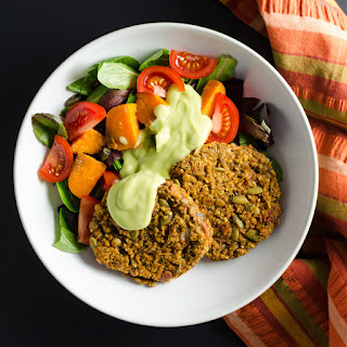 Spicy Lentil Quinoa Burgers with Avocado Dressing.
