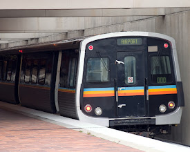 Photo: end of Light Rail Car at platform
