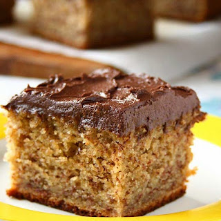 Banana Cake with Cocoa Buttercream Frosting