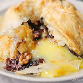 Phyllo Baked Brie with Figs and Walnuts.