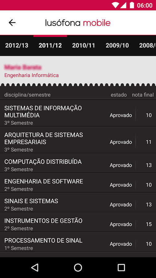 Lusófona Mobile– captura de ecrã