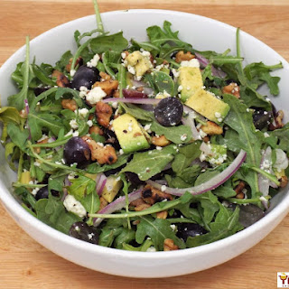 Arugula, Walnut and Blue Cheese Salad with Grapes and Avocado.