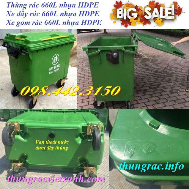Xe rác 660L nhựa hdpe