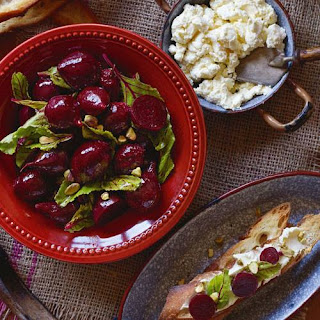 Slow Roasted Beetroot And Ricotta Bruschetta.