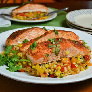Sweet and Spicy Salmon with Roasted Summer Veggie Rice.