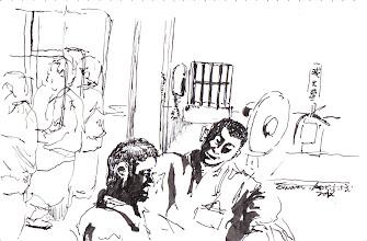 Photo: 樂與愁2012.04.13鋼筆 接見室是悲欣交集之所,與家人見面,有人樂,有愁…