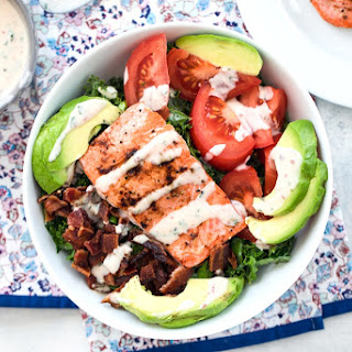 Salmon BLT Salad with Chipotle Buttermilk Dressing.