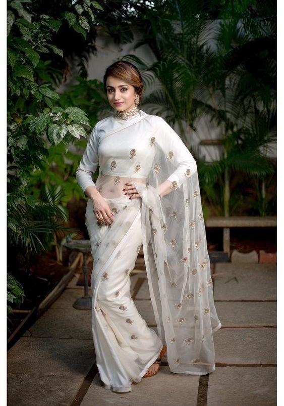 White on white saree combo