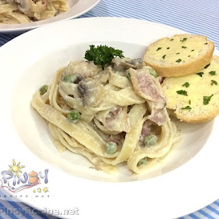 Creamy Mushroom and Bacon Fettuccine Carbonara.