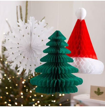 Juldekorationer - tomteluva, julgran och snöflinga