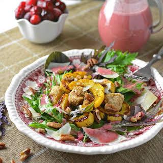 Spicy Greens, Delicata, and Crunchy Pork Salad.