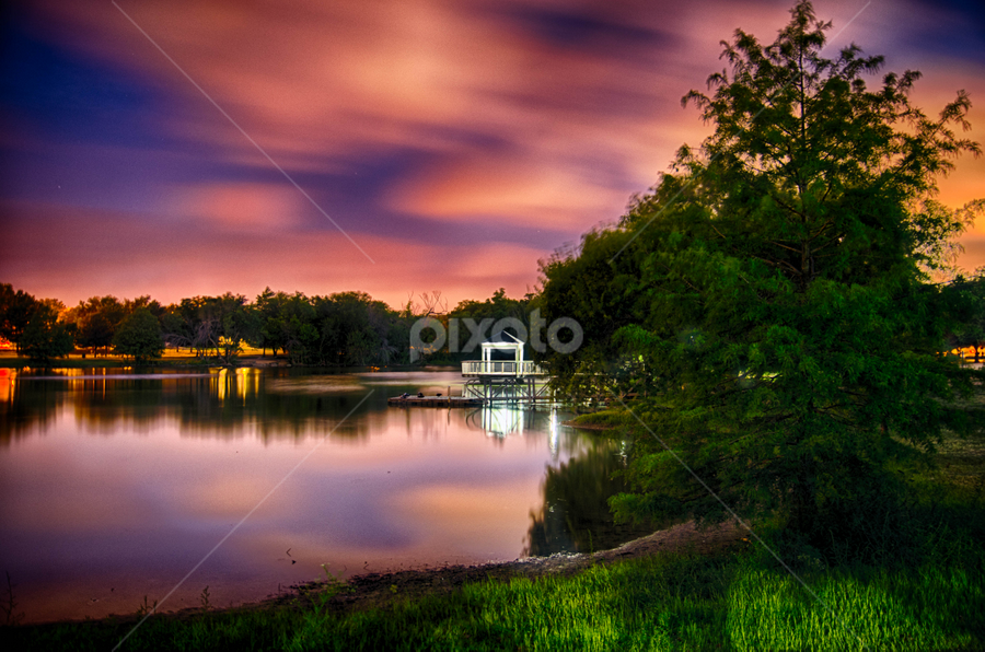 Pond at dawn by Kevin McKinnerney - City,  Street & Park  City Parks ( colored clouds, austin, dawn, mills pond, texas, gazebo )