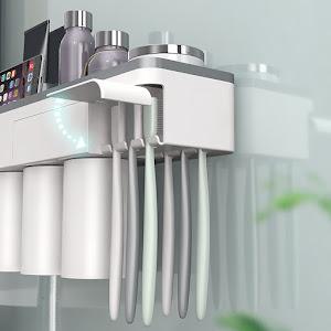 Suport 3 pahare magnetice si dispenser pasta de dinti cu 6 periute
