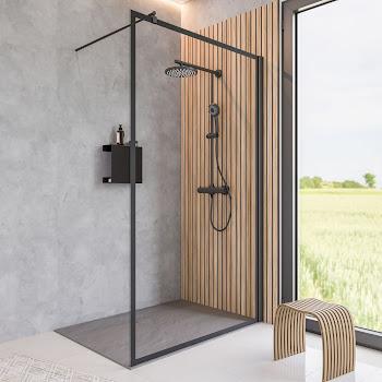 Paroi de douche fixe à l'italienne, 90 ou 120 x 200 cm, encadré, profilé noir