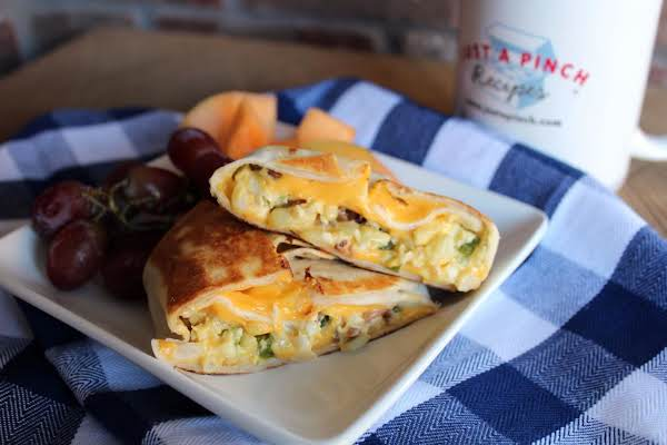 Homemade Breakfast Crunch Wrap Cut In Half
