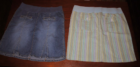 Photo: Maternity Skirts. Denim is Old Navy Maternity Stretch Size Large. Right is Light Blue and Green Stripe by In Due Time XXL. $4 each.