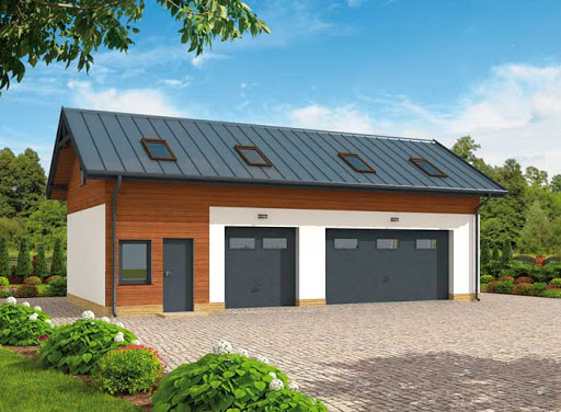 projekt G299 szkielet drewniany garaż trzystanowiskowy z pomieszczeniem gospodarczym i poddaszem