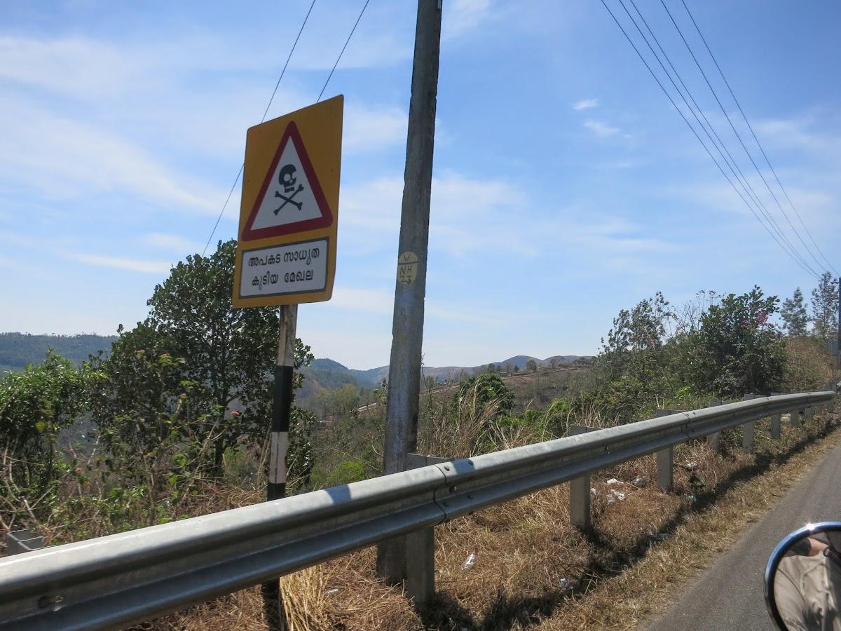 India. Kerala Motorbike Road Trip. Kerala Danger Road Sign.