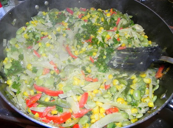 Add corn, lima beans, and whipping cram, cook 5 minutes or until thoroughly heated,...
