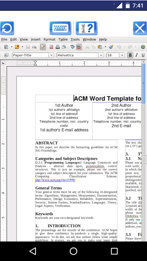 AndroWriter document editor- screenshot