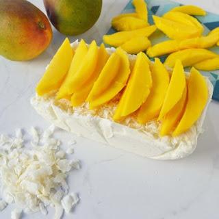 No-Churn Coconut Ice Cream with Fresh Mango.