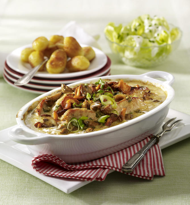 Pork Cutlets in Mushroom Cream Sauce with Golden Potatoes and Green Salad Recipe