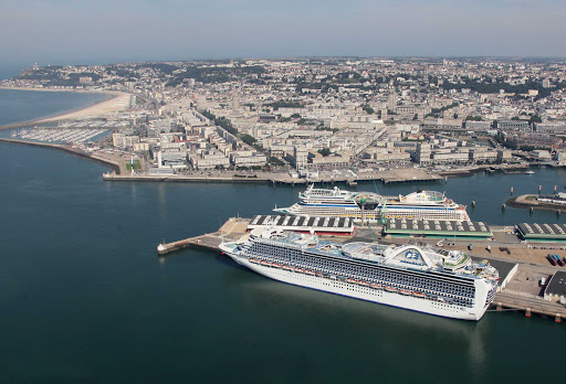 Princess and Aida ships are docked in the cruise ship terminal in Le Harve, France, centrally located at Pointe de Floride.