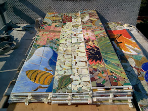 Photo: Fourth full day of work (October 30, 2013): pieces of the Hidden Garden Steps (16th Avenue, between Kirkham and Lawton streets in San Francisco's Inner Sunset District) 148-step ceramic-tile mosaic designed and created by project artists Aileen Barr and Colette Crutcher. For more information about this volunteer-driven community-based project supported by the San Francisco Parks Alliance, the San Francisco Department of Public Works Street Parks Program, and hundreds of individual donors, please visit our website at http://hiddengardensteps.org.