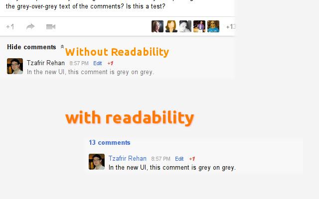 Readability for Google Plus™