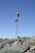 Photo: K9GP working on the Scout Mt antenna system, 2008