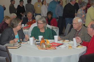 Photo: Wendy Miles and Sharon Watkins talk.