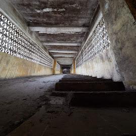 Stairway to darkness by Matizki Blixten - Buildings & Architecture Other Interior ( hòa bình, sunday, corridor, asia, sea, vietnam, factory, yellow )