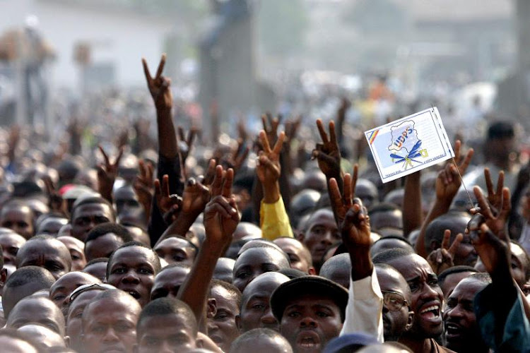 Students at an anti-government rally in the DRC. Picture: REUTERS