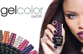 an advert for OPI gel colour with a lady holding a bottle up
