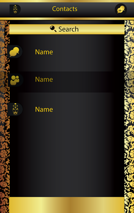 Black and Gold GOSMS PRO Theme- screenshot