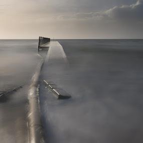 The pipe by Kim Borup Matzen - Landscapes Waterscapes ( silk, winter, waterscape, denmark, bridge )