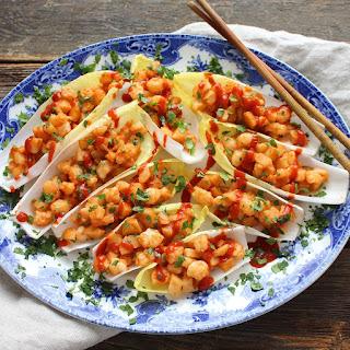 Spicy Szechuan Shrimp Lettuce Cups.