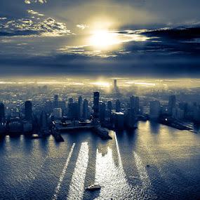 by Hoover Tung - Landscapes Sunsets & Sunrises ( skyline, building, america, silhouette, cityscape, sunlight, usa, sun, jc, skyscraper, d750, sunrays, jerseycity, nikon, nj, newjersey )