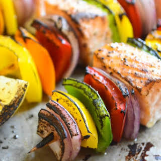Rainbow Salmon Skewers.