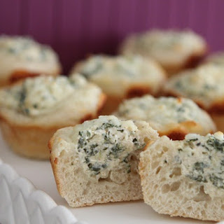Baked Spinach Dip Mini Bread Bowls.