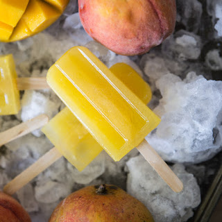 Peach Mango Lemonade Popsicles.