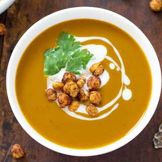 Chocolate Roasted Butternut Squash Soup with Chili Cocoa Roasted Chickpeas