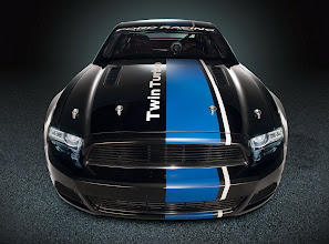 Photo: Mustang Cobra Jet Twin-Turbo Concept: The Mustang Cobra Jet Twin-Turbo Concept features a unique interpretation of the new Ford Racing global identifier with black and blue bars on the C-pillar and stretching the length of the body and the striking cobra on the sides. Black finish is used on Ford Racing development prototypes. (10/30/2012)