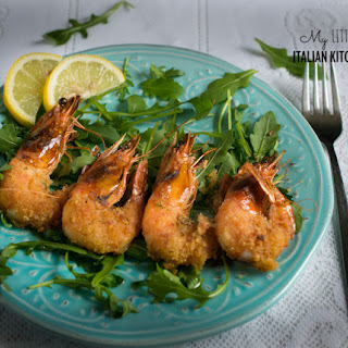 Baked Crispy Prawns With Garlic And Herbs.