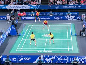 Photo: Glasgow 2014. Badminton Mixed Doubles Quarter Final. Peng Soon Chan & Lai Pei Jing (Malaysia) beat Danny Chrisnanta & Vanessa Neo (Singapore) 2:1.