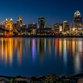 cincinnati by Mike Svach - City,  Street & Park  Skylines ( lights, water, riverside, night, river )