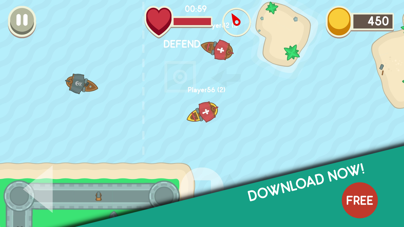 Sink Me! - Multiplayer Pirate Game 2D- screenshot