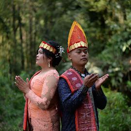 Batak Tribe Couple Engagement by Fredy Pandia - Wedding Bride & Groom ( prewed, f1.8g, nature, prewedding, indonesia, wedding, d610, 50mm, forest, couple, bride and groom, nikon, batak, portrait )